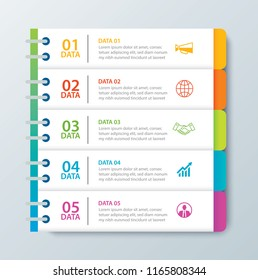 Infographics tab in horizontal paper index with 5 data template. Vector illustration abstract notebook background. Can be used for workflow layout, business step, banner, web design.