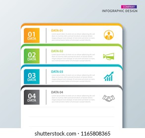 Infographics tab in horizontal paper index with 4 data template. Vector illustration abstract notebook background. Can be used for workflow layout, business step, banner, web design.