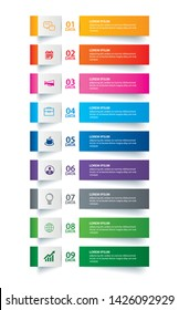 Infographics tab paper index with 9 data template. Vector illustration abstract background. Can be used for workflow layout, business step, banner, web design.