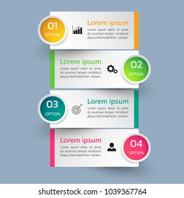 Infographics template 4 options with rectangle banner, can be used for workflow layout, diagram, website, corporate report, advertising, marketing. vector illustration.