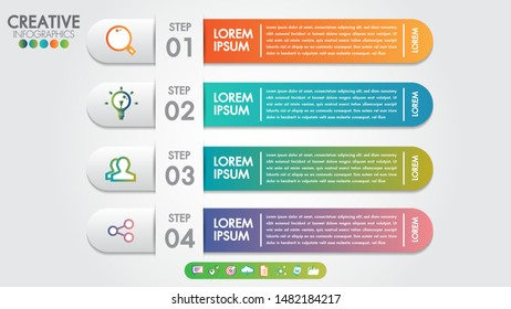 Infographics template 4 steps or options for business banner design vector and marketing icons.Can be used for workflow layout, diagram, number options, anual report, web design, steps or processes.