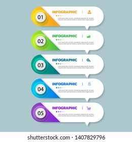 Infographics template 5 options with rectangle banner, can be used for workflow layout, diagram, website, corporate report, advertising, marketing. vector illustration.
