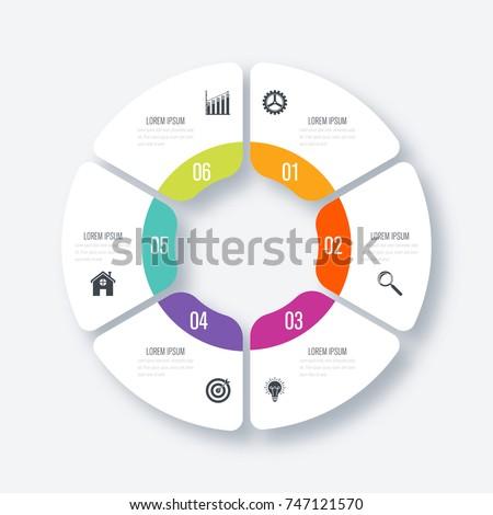 Infographics Template 6 Options Circle Data Image Vectorielle De