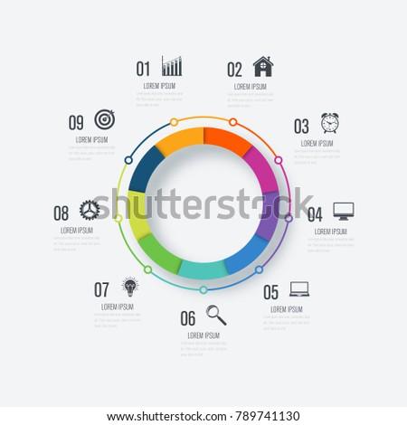 Infographics Template 9 Options Circle Data Image Vectorielle De