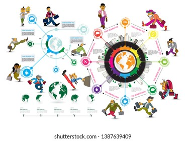 Infographics template with business cartoon character, vector illustration