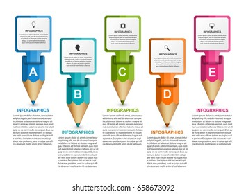 Infographics template with colored pencil in the form of ribbons.