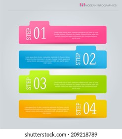 Infographics template design for website banners, business, brochure. Editable vector illustration. Horizontal with tabs. Pink, blue, green, orange.