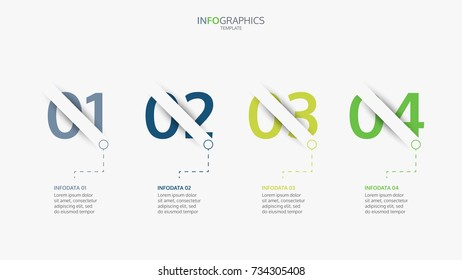 Infographics template four options with number options.Can be used for step up options, web design, presentations.Vector illustration