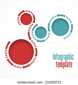 Infographics template. Graphics vector. Round islets for text and arrows
