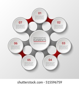 Infographics template. Metaball for diagram, graph, presentation and chart. Business concept with 7 options, parts, steps or processes.