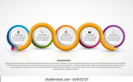 Infographics template with pencil. Infographics for business presentations or information banner. Vector illustration.