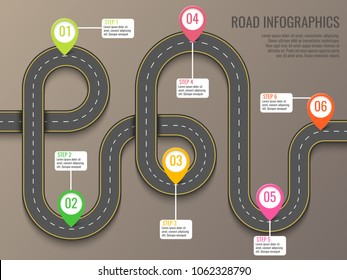 Infographics template with road map using pointers. Top view vector elements. Road trip. Business and journey infographic design template with flags. Winding road on a brown background