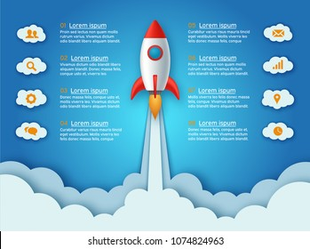 Infographics template of rocket or spaceship launches through the clouds with arrows, icons and text. Successful startup business concept. Used for web design and workflow layout. Vector illustration.