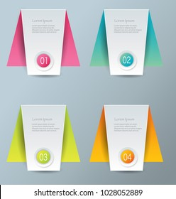 Infographics template with step options for business, startup concept, web design, data visualization, banner, brochure or flyer layouts, presentation, education. Abstract 3d colorful vector