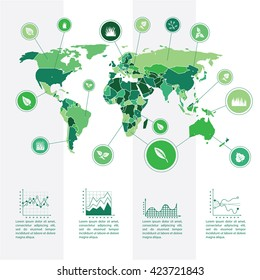 Infographics template and world map.  Illustrated world map with a specified natural resource or natural plant data. Schematic drawing and positioning on the map. The visual data processing.