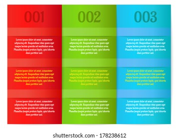 infographics - three color vertical panels as a three steps with lines and sample text
