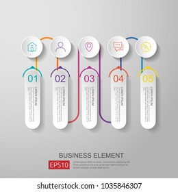 infographics timeline element with 3D paper label, integrated circles. Business concept with options for content, diagram, flowchart, steps, parts, workflow layout, chart. vector design template.