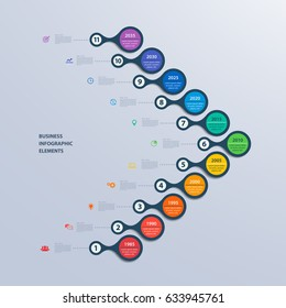 Infographics timeline template for 11 steps and icons. Can be used for workflow layout, annual report, diagram, number options, step up options, web design, infographics, presentations