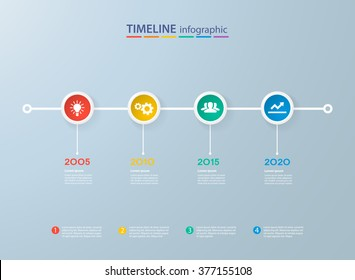 Infographics timeline template with realistic colorful circles for 4 steps and icons. Can be used for workflow layout, diagram, number options, step up options, web design, infographics, presentations