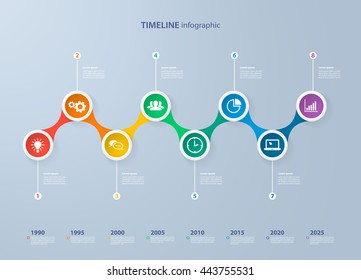 Infographics timeline template with realistic colorful circles for 8 steps and icons. Can be used for workflow layout, diagram, number options, step up options, web design, infographics, presentations