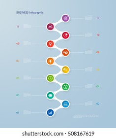 Infographics timeline template with realistic colorful circles for 12 steps and icons Can be used for workflow layout, annual report, diagram, number options,step up options,infographics,presentations