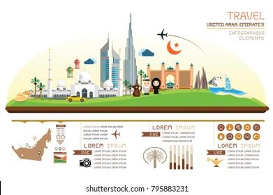 Infographics travel and landmark united arab emirates template design. Vector Illustration