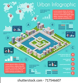 Infographics of urban infrastructure in the field of industrial construction and heavy industry. Template for presentation and design
