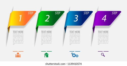Infographics vector design for marketing or financial business report, diagram and layout with 4 steps processes