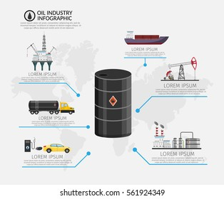 Infographics Vector Oil rig industry of processing petrol fuel and transportation set of production elements.