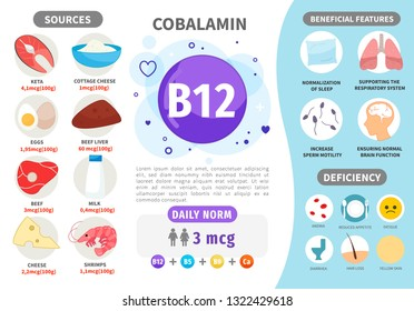 Infographics Vitamin B12. Products containing vitamin. Daily norm. Symptoms of deficiency. Vector medical poster.