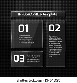 Infographics web design. Modern  glass template. Numbered options. Vector illustration