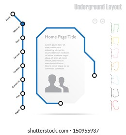 Infographics, website template, vector - All active screens and buttons included in a hidden layer