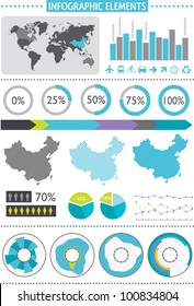Inforgraphics set. World Map and Information Graphics