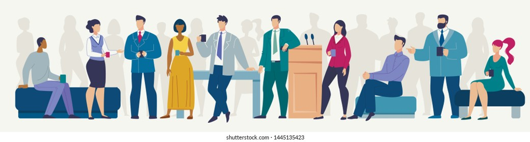 Informal Conversation on Seminar, Timeout or Coffee Break During Business Meeting Flat Vector Concept. Businessmen and Businesswomen, Company Employees Talking with Cup of Coffee in Hands Illustration