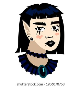 informal girl on a white background with a beautiful short hairstyle and a black necklace in a cartoon style is drawn. informal character, rocker, punk