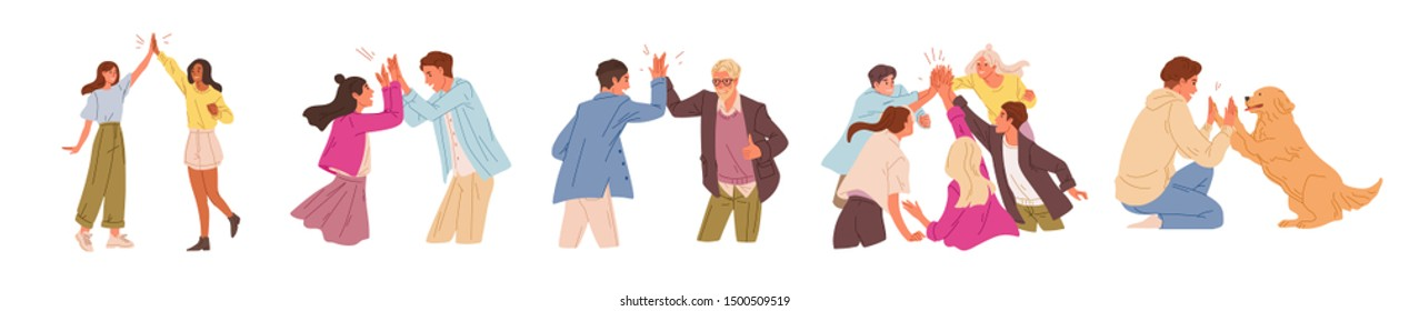 Informal greeting flat vector illustrations set. Happy people giving high five isolated on white background. Cheerful friends and colleagues cartoon characters pack. Happiness, joy expression.
