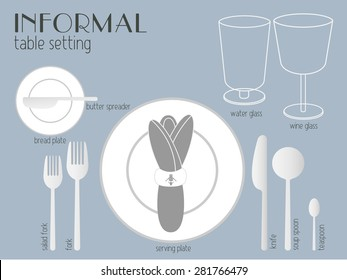 INFORMAL TABLE SETTING white and clear tableware and eating utensils are set at the table for serving. Simply style place setting or table setting or laying a table) are for casual dining.