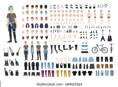 Informal teenager character constructor. Punk creation set. Different postures, hairstyle, face, legs, hands, clothes collection. vector cartoon illustration. front, side, back view.