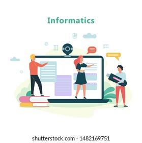 Informatics school subject. Education on computer, modern technology. Laptop computer screen. Flat vector illustration