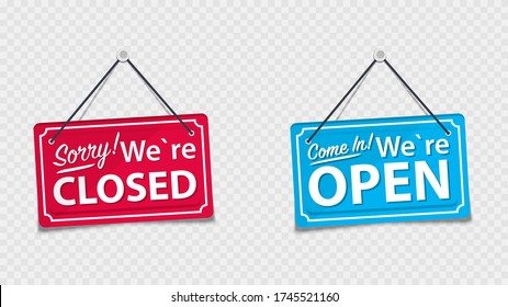 Information boards with the inscription, Come in we're open and Sorry, We are closed. White signboard with a rope on background. Business concept for closed and open businesses, sites and services