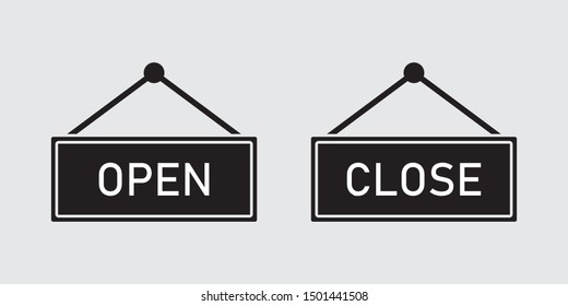Information boards with open/close sign vector design