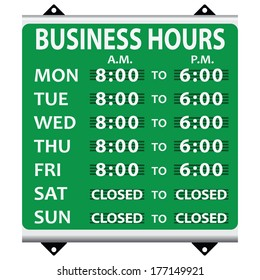 Information booth on opening hours during the business week. Vector illustration.