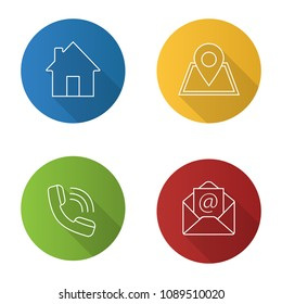 Information center flat linear long shadow icons set. Homepage, GPS navigation, incoming call, email. Vector outline illustration