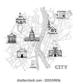Information city map for travel navigation with icons of school prison church bank theater university museum vector illustration