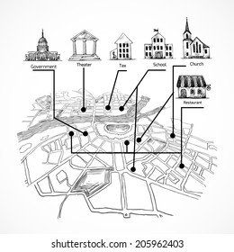 Information city map for travel navigation with buildings icons of  government theater tax school church restaurant vector illustration