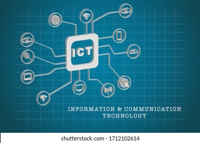 Information and Communication Technology (ICT) icons vector