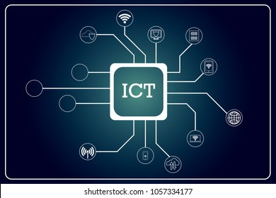 Information and Communications Technology (ICT) icons connected to a box with ICT text. There is also 3 circular shaped icon left unfilled for user to use. EPS 10. Vector illustration.