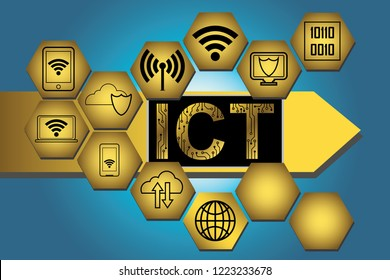 Information and Communications Technology (ICT) icons connected to a with ICT text with an arrow to the right on blue background. EPS 10 vector illustration.