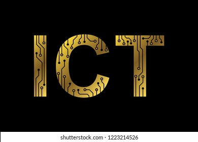 Information Communications and Technology (ICT) typographic logo in metallic gold in black background. Circuitry diagram runs thru the letters. EPS 10 vector.
