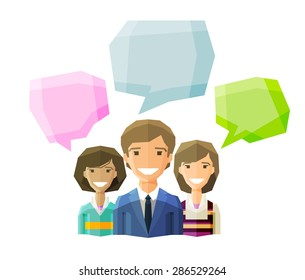 information, conversation, opinion  vector logo design template. discussion, debate, deliberation, consideration, negotiation or business people icon. flat illustration